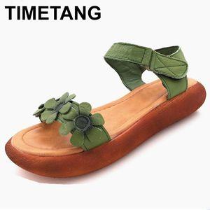 punta aperta TIMETANG donne sandali fatti a mano scarpe sandali estivi Vera pelle retrò stile nazionale