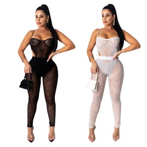 Night & Club Lady's Jumpsuits and Rompers Sexy Spaghetti Strap Transparent Mesh Jumpsuits Two Colours Five Size
