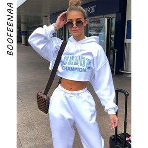BOOFEENAA Letter Print Weiß geerntete Maxi-Hoodie Street Kleidung Frühling 2020 Frauen Sweatshirts Pullover C83-AC14 CX200717