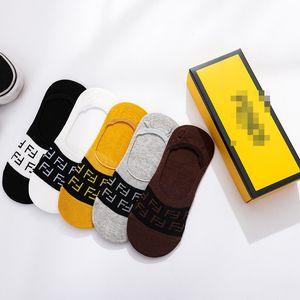Brand Hip-Hop Socks FF Letters Designer Low Socks Summer Thin Slippers Socks Cotton Short Sports Sock With Gift Box