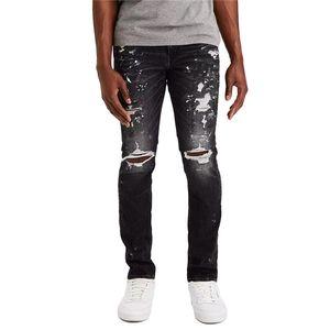 Herren Risse Loch Slim Jeans Splash Tinte Lighgewaschen High Street Bleistift Hosen Männer Hiphop Enge Mode Denim Hose