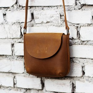 2020 novas bolsas moda retro Crazy Horse bolsas de couro subiu senhoras imprint diagonal Mensageiro Beg mini-bolsa de ombro