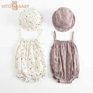 VITO New 2 PICS Baby Girls Clothes Summer Sunsuit Floral Print Princess Rompers+Sun Hat Brief Set Infant Outfit Jumpsuit Clothes T200716