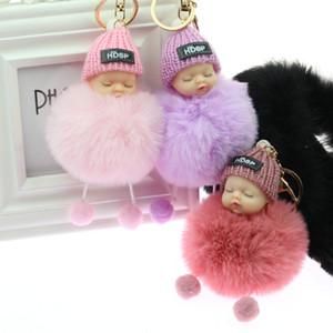 Baby Doll Key Ring Doll Keychain Cute Fluffy Fake Fur Fluffy Ball Car DecorationKawaii Confused Hair Ball Keychain