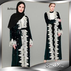 Rebicoo terciopelo Cardigan Hijab musulmán del traje del vestido para las mujeres Abayas Ramadán Tesettur Elbise ropa islámica turca