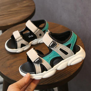 New Children Beach Shoes 2020 Summer Boys Girls Leather Sandals for Baby 2 Colors Flat Kids Soft Non-slip Casual Toddler Sandals