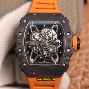 새로운 최상위 버전 RM 35-01 라파엘 나달 해골 다이얼 NTPT 전체 탄소 섬유 케이스 일본 NH 자동 RM35-01 남성 시계 고무 스포츠 시계