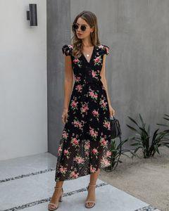 Vintage Floral Maxi Dresses Elegant Beach Sash Sexy V Neck Split Print Tunic Long Summer Boho Dress Women