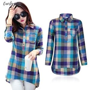New Fashion Womens Clothing Women Plaid Blouses Cotton Long Sleeve Turn Down Collar Shirts Drop Shipping