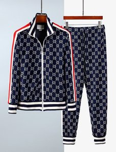 xshfbcl Spring and autumn and winter fashion men's stand collar suit high quality letter jacquard color matching ribbon leisure sports suit