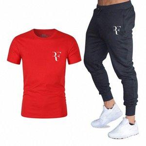 YUANHUIJIA impressa T-shirt de manga curta T-shirt moda casual solta dos homens + Calça de Jogging esportes roupa nova UFWp # masculina