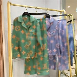 Luxo G Flor Womens Pijama Carta amantes impressão Ice Silk Pijamas primavera e no verão Nightclothes Tide Início veste Ins Hot