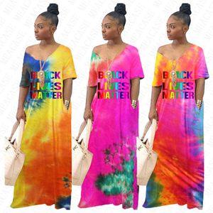 Women Summer Tie-dye Gradient Long Maxi Dress BLACK LIVES MATTER Letter loose Dresses with Pocket Short Sleeve Overall Beachwear D71404