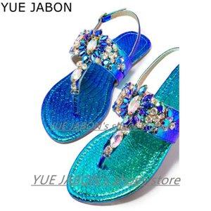 Di alta qualità Blu Nero Oro gladiatore con strass sandali degli appartamenti Scarpe da donna Bohemia Crystal Beach per l'estate Women Size 43