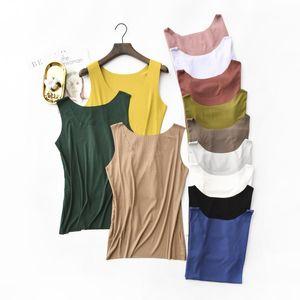 Femmes en gros été Débardeurs ronde manches cou lâche t-shirts dames Gilet Singlets Camisole en coton Rib Slim dames Veste mince