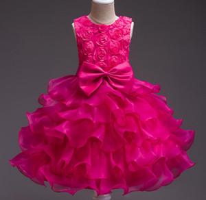Popular children's kids youth wedding dress big children's dress girl flower girl rose princess skirt spot
