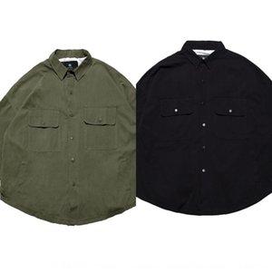 Trendy Elemente Revers Männer amerikanischer Mantel Shirt Sleeve Clip Shirt lässig zwei Taschen Langarm-Jacke weiter Mantel