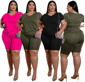 Two-piece suit Large size European and American fat MM large size women's casual solid color V-neck T-shirt shorts suit XL-4XL