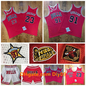 Finals Mitchell Ness MännerJordonChicagoBulls Jersey 23 Michael JD 91 Dennis Rodman 33 Scottie PippenNBA Basketball Shorts