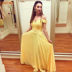 African Light Yellow Chiffon Prom Dresses New Style Off Shoulder Long Maid of Honor Dress A Line Bride Party Evening Gowns B144