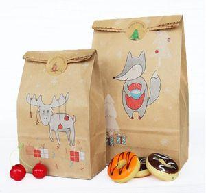 24pcs Lot(12pcs candy bag+12pcs sticker) Christmas Baking Snack Bag Birthday Baby Shower Christmas Candy Box Party Supplies