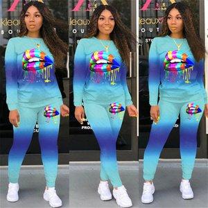 Women Lips Tracksuit Designer Color Gradient Crew Neck T Shirt Pants Leggings Two Pieces Outfits Sport Autumn Sweat Suit D71602