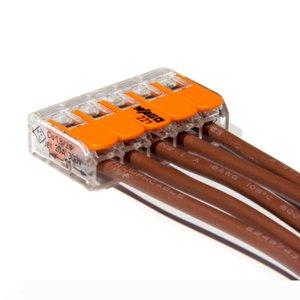 25pcs WAGO Câble électrique Connecteur 5 voies réutilisable originale WAGO 221-413 Bornes fil transparent