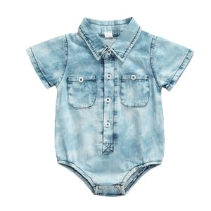2020 Baby Summer Clothing 0-1Years Newborn Infant Baby Girls Boys Denim Color Romper Casual Short Sleeve Jumpsuits