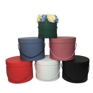 Hat Коробки Круглые цветочные коробки цветов Упаковка Бумажный мешок подарков хранения Box флориста Букет цветок Упаковка коробка с крышкой для темляка