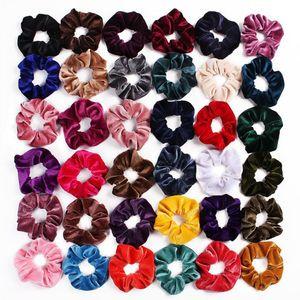 Velvet волос Scrunchies Tie аксессуары хвостик держатель лента для волос резинки для волос девушки моды для женщин велюра петли волос Pleuche Головных уборы DHD146