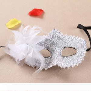 12 Colors Side Flower Mask Masquerade Masks Dance Party Venice Princess Mask High-grade Party Supplies WB135