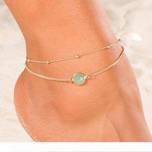 Opal Female Anklets Barefoot Crochet Sandals Foot Jewelry Leg New Anklets On Foot Ankle Bracelets For Women