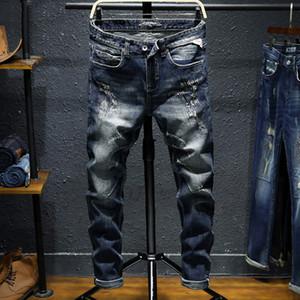 Italian Vintage Designer Men Jeans Black Blue Slim Fit Ripped Jeans Men Cotton Denim Pants Fashion Streetwear Hip Hop