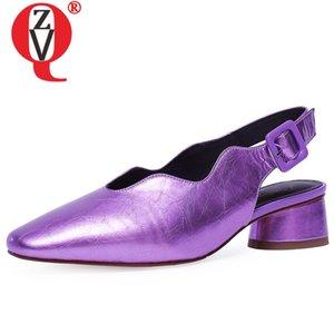 ZVQ mode pompes en cuir véritable orteil carré femmes chaussures haut de partie talon épais dos dames bracelet boucle chaussures violettes d'argent