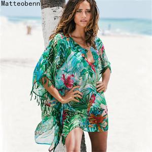 Women Print Pareo Beach Cover Up Chiffon Saida De Praia tunic Summer dress beach bikini cover up Swimsuit Kaftan Swim Beach Wear Y200706