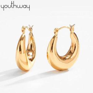 Moroccan Tube Hoop Earrings For Women Punk Brass Chunky Huggie Earrings Gold Circle Metal Jewelry