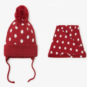 2020 new winter lovely knit caps and knit infinity scarf sets for baby girls boys children