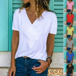 Summer ladies T-shirt solid color deep V-neck short-sleeved casual T-shirt convenient and fashionable ladies casual jacket simple