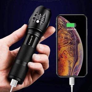 USB T6 Taschenlampe G700-U XM-L T6 Zoomable CREE LED Taschenlampe wasserdicht aufladbare Taschenlampe Licht für 18650 Akku-Lampe