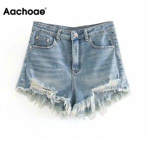 Aachoae Women Summer Ripped Shorts Jeans High Waist Streetwear Mom Shorts Casual Zipper Denim Short With Tassel Pockets