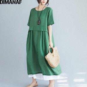 DIMANAF Plus Size donne vestono vintage Lino Solid Base estate Sundress grande formato femminile Lady Vestiti allentati Abiti casual 2020 eCoZ #