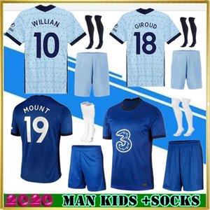 베르너 PULISIC KANTE 아브라함 MOUNT ZIYECH 축구 유니폼 2020 2021 Camiseta 드 축구 키트 셔츠 (20) (21) MEN 아이 세트