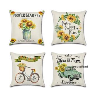 Farm Sunflower Cushion Cover Thanksgiving Autumn Harvest Theme Pillow Case Home Office Sofa Car Pillowcase 45*45cm 5kh E1