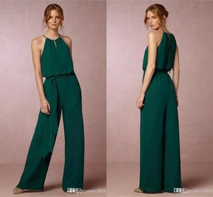 Country Style Chiffon Cheap Bridesmaid Pant Suits Dresses Halter Neck Pleats Beach Bohemian Maid Of Honor Wedding Guest Gow