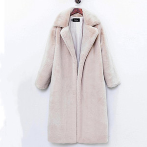 Size Plus Winter High Quality Faux Cashmere Coat Women Luxury Long Loose Lapel OverCoat Thick Warm Female Plush Jacket