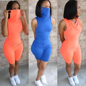 Women Short Two Piece Set With Mask Designe Solid Colo T-shirt Tight Pants Suit Club Shorts Matching Casual Tracksuits Hy782