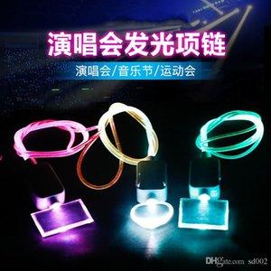 Led Illuminate Necklace Flash Acrylic Pendant Party Supplies Dance Power Persistence Plastic Colorful Music Festival Hot Sales 4 5hl C1