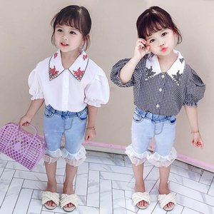 Summer 2020 new baby girls suits fashion girls outfits short sleeve shirt+lace Jeans shorts 2pcs set kids designer clothes girls sets