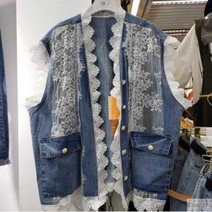Loose Big pocket Lace Stitching Denim Vest Summer Plus size Women Casual Sleeveless Jean jacket Student Basic coat