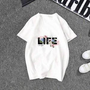 New cotton L I F E letter printing T-shirt 2020 summer casual breathable sports funny short-sleeved shirt T-shirt atrI#
